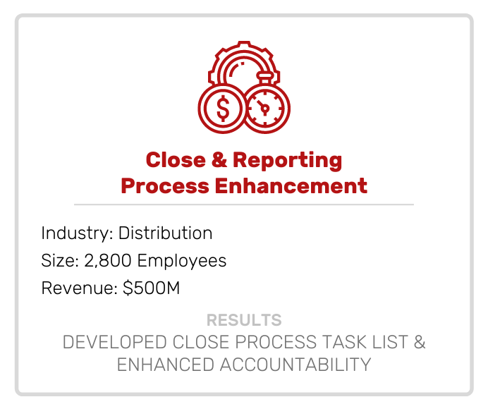 Close and Reporting Process Enhancement